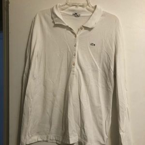 Long sleeve white Lacoste collared shirt